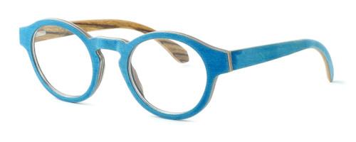 "Specs of Wood Designer Wooden Eyewear Made in the USA ""Wood Levis"" in Zebra Wood (Layered Denim) :: Custom Left & Right Lens"