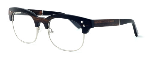 "Specs of Wood Designer Wooden Eyewear Made in the USA ""The Malcom"" in Ebony Wood (Black Silver) :: Custom Left & Right Lens"