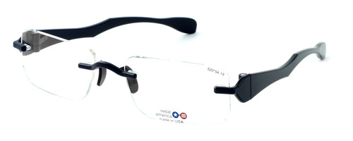 "I Wear America Designer Rimless Eyewear Made in the USA ""Freedom 1"" in All Black :: Custom Left & Right Lens"