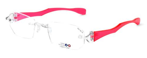 "I Wear America Designer Rimless Eyewear Made in the USA ""Freedom 1"" in Pink Diamond :: Custom Left & Right Lens"
