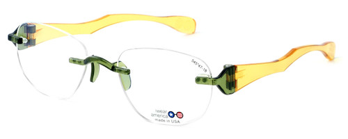"I Wear America Designer Rimless Eyewear Made in the USA ""Freedom 1"" in Olive Oil :: Custom Left & Right Lens"