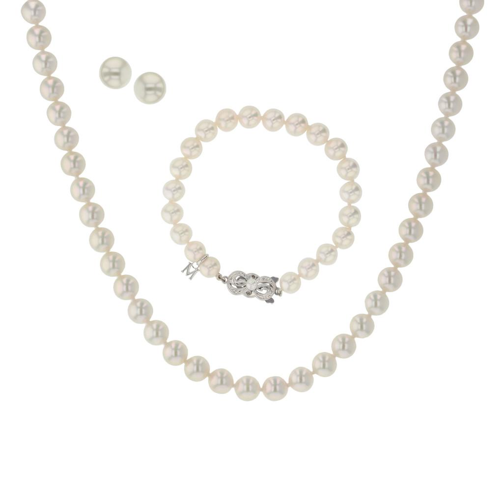 Akoya Cultured Pearl 3 Piece Set (strand, Bracelet, Earrings) (#354035)