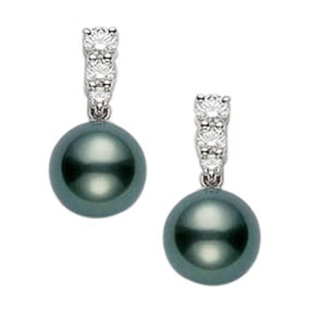 Black South Sea Cultured Pearl Earrings (#352762)