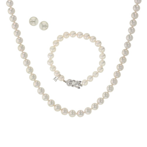 Akoya Cultured Pearl 3 Piece Set (strand, Bracelet, Earrings) (#354035)