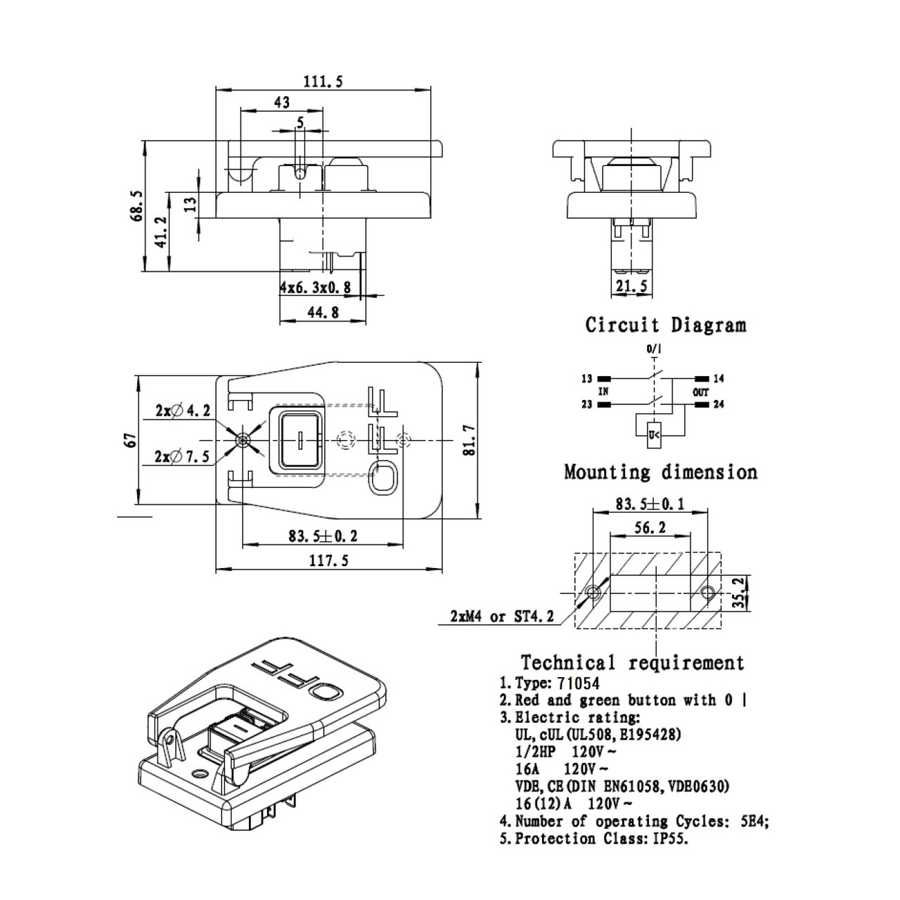 71054 Magnetic Paddle Switch 120v