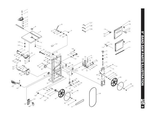 BS900ATA Aluminum Table Assembly (KEY#8 through #12, 129, 130)