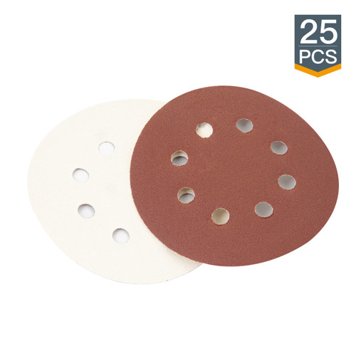 """A/O Hook and Loop Sanding Discs 8 Hole 5""""-25 PK (more choices)"""