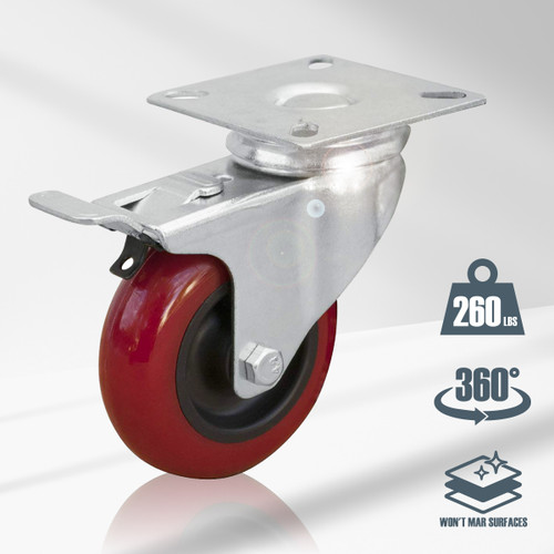 17004  Swivel Double Lock Polyurethane Plate Caster, 4""