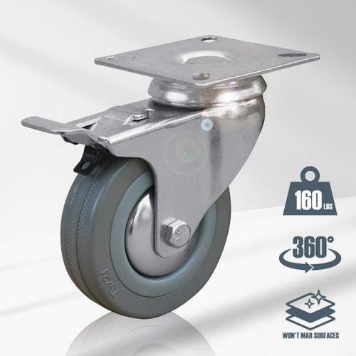 """17023 Swivel Double Lock Rubber Plate Caster, 3"""", Grey"""