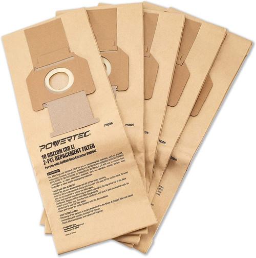 75026 High Efficiency Filter Bags 10-Gallon for DeWalt DWV012 Dust Extractors, 5 PK