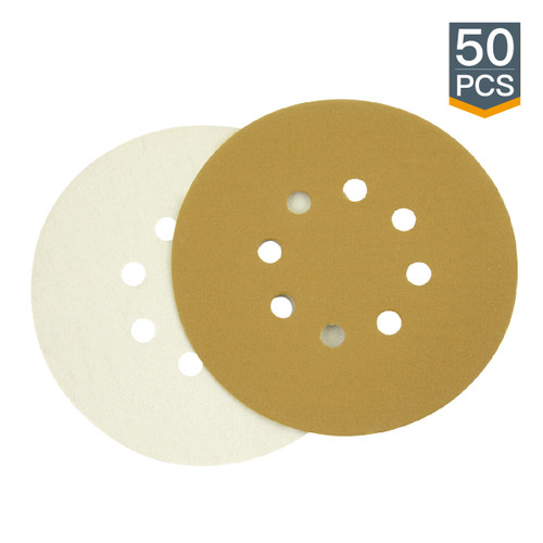 "Gold Hook & Loop Sanding Disc 6"" 8 Hole-50 Pack (more Grits)"