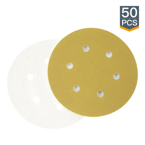 "Gold Hook & Loop Sanding Discs 6"" 6 Hole -50 Pack (more Grits)"