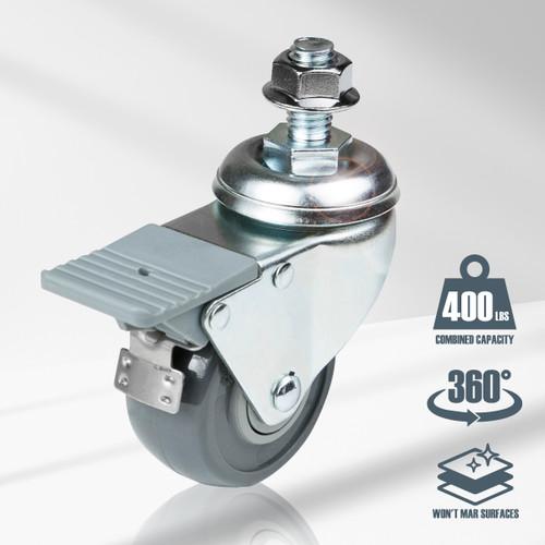 17202 Dual-Locking Swivel Caster Set, Silver, 4 PK