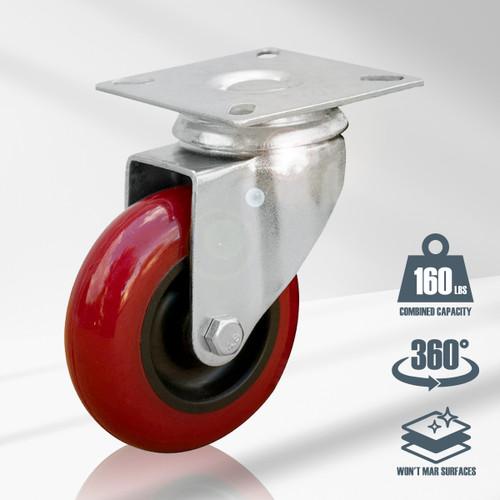 """17206 Swivel Polyurethane Plate Caster, 3"""", Red, 4 PK"""