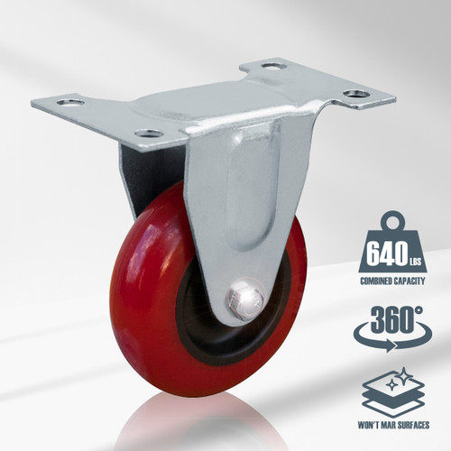 17207 3 Inch Caster Wheels Fixed Plate, Red, 4 PK