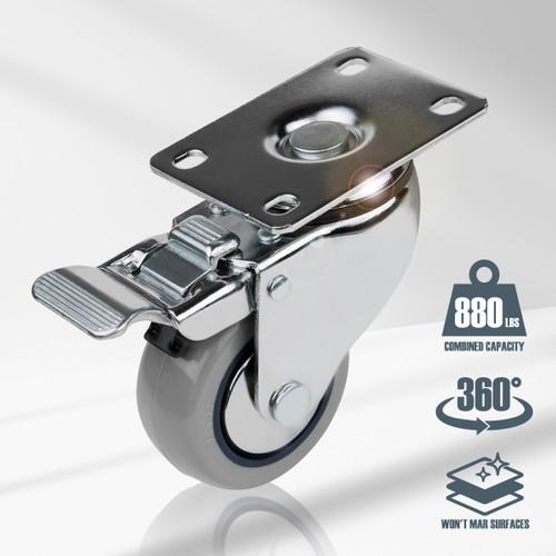 "17208 Swivel Double Lock Polyurethane Plate Caster, 3"", Gray, 4 PK"