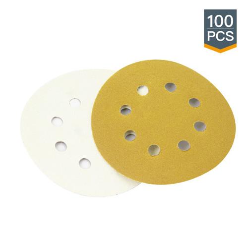 "44001XG-100 Gold Hook and Loop Disc Assortment Grit 8 Hole 5""-100PK"