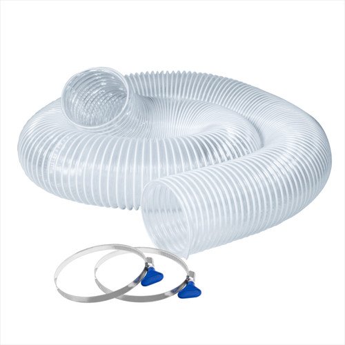 """70242 Flexible PVC Dust Collection Hose 4""""x 10 ft. with 2 Key Hose Clamps, Clear"""