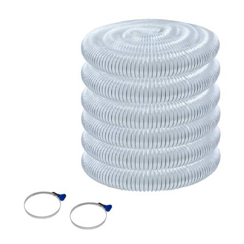 "70245 Flexible PVC Dust Collection Hose 2-1/2""x 50 ft. with 2 Key Hose Clamps, Clear"