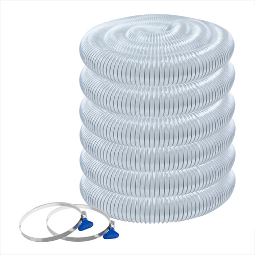 """70246 Flexible PVC Dust Collection Hose 4""""x 50 ft. with 2 Key Hose Clamps, Clear"""