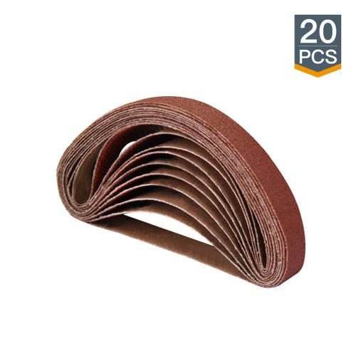 "1/2"" x 18"" Aluminum Oxide Sanding Belt, 20 Pack (more Grits)"