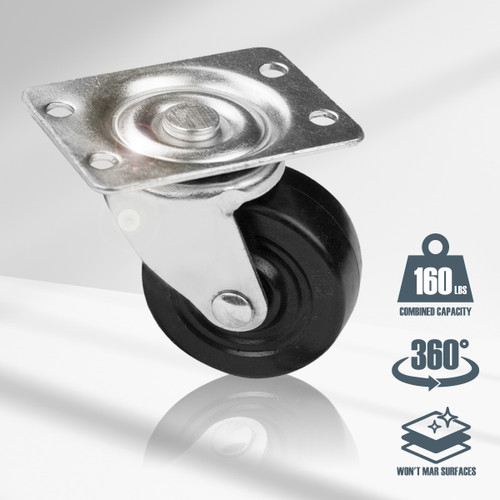 "17209 Low Profile Rubber Swivel Plate Casters, 1-1/2"", 4 PK"