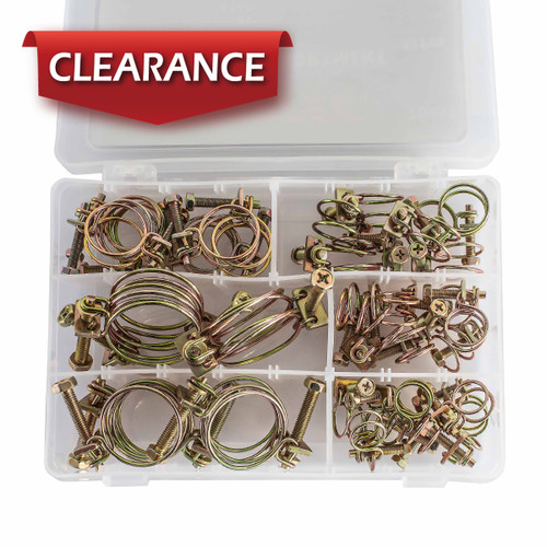 """70251 Wire Hose Clamp Assortment (sizes 1/2"""", 5/8"""", 3/4"""", 7/8"""", 1-1/8"""", 1-1/4""""), 42-Total"""