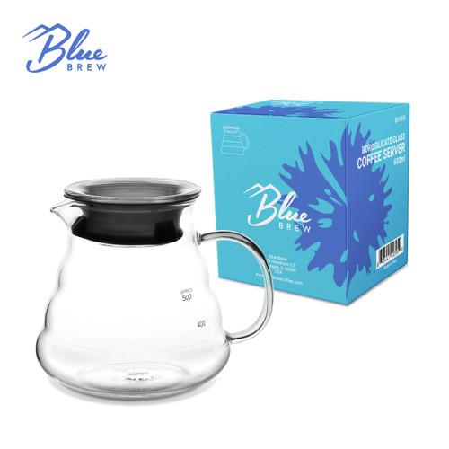 Blue Brew-Borosilicate Glass Coffee Server 600 ML-Heat Resistant (BB1008)