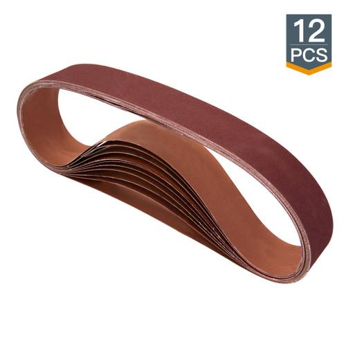 """2"""" x 42"""" A/O Sanding Belt Assortment -60/ 80/ 120/ 150/ 240/ 400 Grit-12 pcs"""