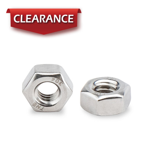 """1/4""""-20 Stainless Hex Nut-Inch series, 100PK"""
