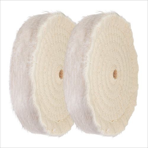 """71630 6-Inch Extra Thick Spiral Sewn Buffing Wheel, Cotton (80 Ply) w/ 1/2"""" Arbor Hole, 2PK"""
