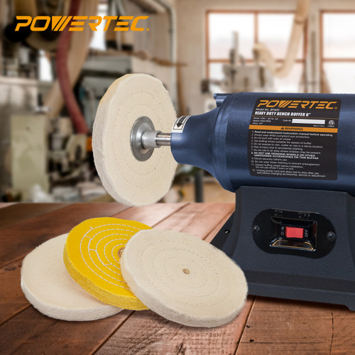 71631 6 Inch Bench Grinder Buffing Wheel Kit w/ 3pcs Polishing Compound Set