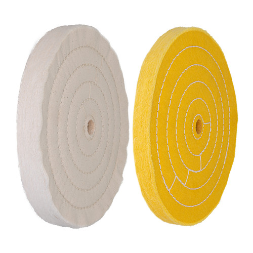 71645 Assorted 8 Inch Buffing Wheels Set w/ White (70 ply) and Yellow (42 ply) with 5/8 inch Arbor Hole, 2 PK