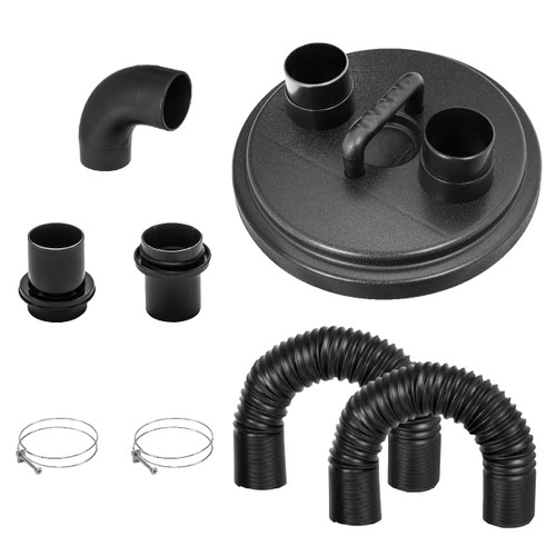 70301 Dust Collection Cyclone Separator Lid Kit w/ Flexible Hoses, Clamps 2 1/2 inch, Elbow & Couplers