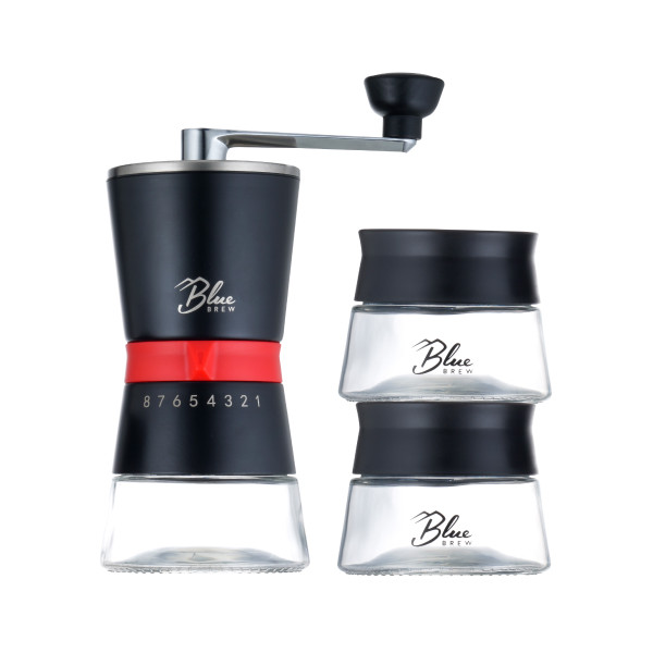 Blue Brew-Pro Ceramic Burr Manual Coffee Grinder with 2 Airtight Canisters (BB1007)