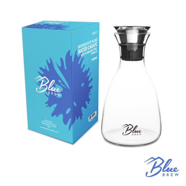 Blue Brew-Borosilicate Glass Water Carafe with Stainless Steel Flow Lid 47 oz (BB1012 )
