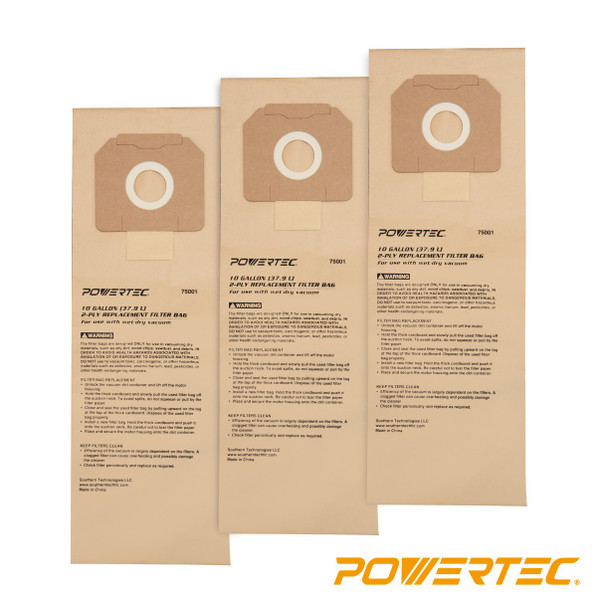 75001 High Efficiency Filter Bags 10-Gallon for DeWalt D27904/ Porter-Cable 7812, 3 PK