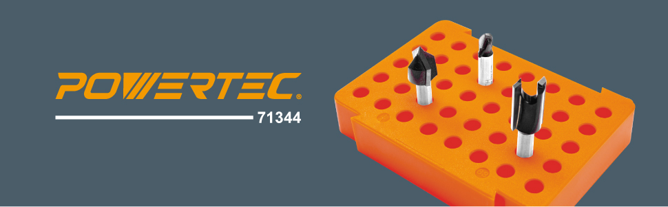 POWERTEC 71344 Router Bit Tray for 40 of /¼-inch Shank Bits
