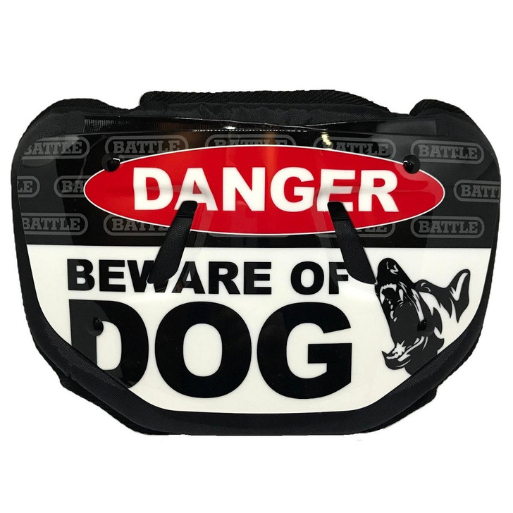 Battle Sports Beware of Dog Chrome Football Back Plate - Adult and Youth