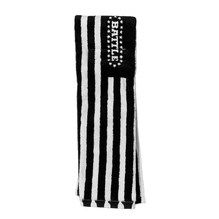 Battle Sports Black and White American Flag Football Towel - Adult