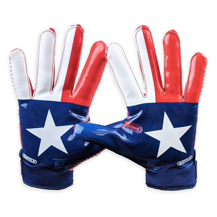 Battle Sports Texas Flag Doom 1.0 Football Receiver Gloves - Adult and Youth