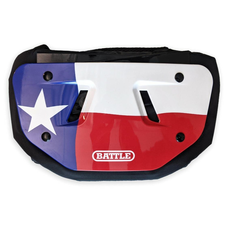 Battle Sports Texas Flag Chrome Football Back Plate - Adult and Youth
