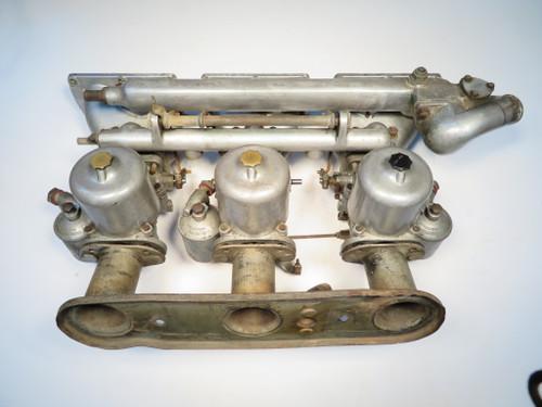Jaguar XKE 3.8L 1961-1964 S.U. HD8 Triple Carburetor & Manifold Set  C15905