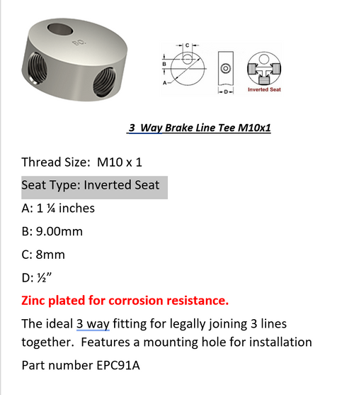 Female Brake Line Tee - 3 Way M10 x 1 Inverted