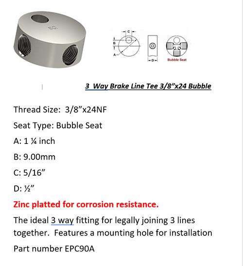"Female Brake Line Tee - 3 Way 3/8"" x 24 NF Bubble Seat"