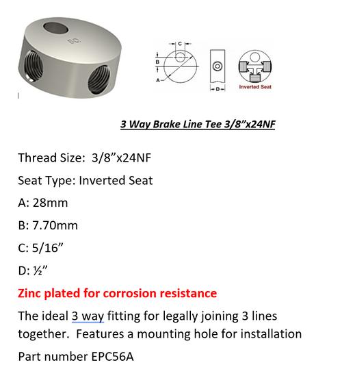 "Female Brake Line Tee - 3 Way 3/8"" x 24 NF Inverted Seat Type"