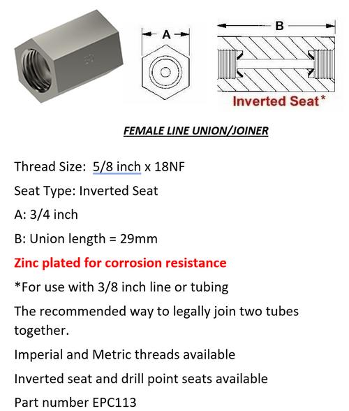 "Female Brake Line Union - Joiner Inverted Flare 5/8"" x 18 NF"