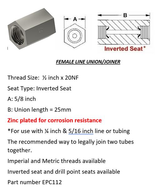 "Female Brake Line Union - Joiner Inverted Flare 1/2"" x 20 NF"