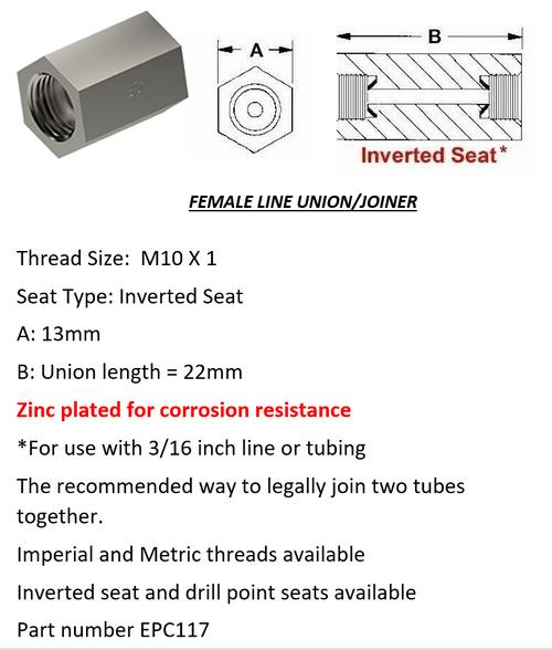 Female Brake Line Union - Joiner Inverted Flare M10 x 1