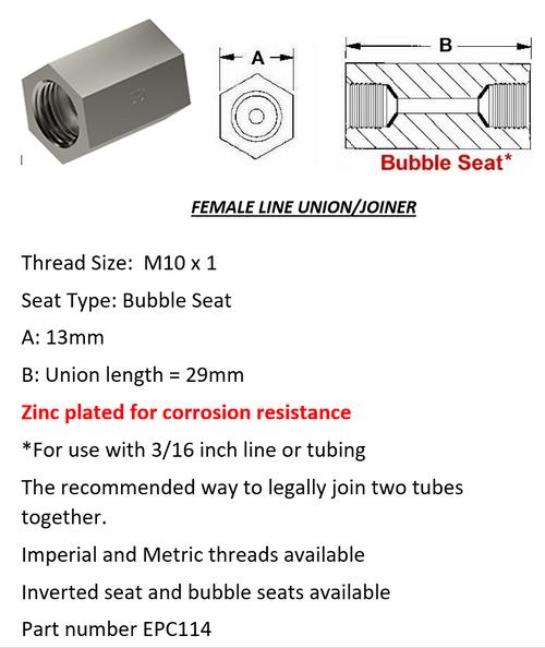 Female Brake Line Union - Joiner Bubble Seat M10 x 1